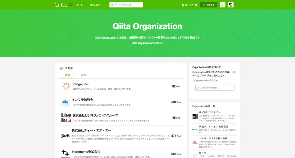 より便利になった、Qiita Organization 一覧ページ